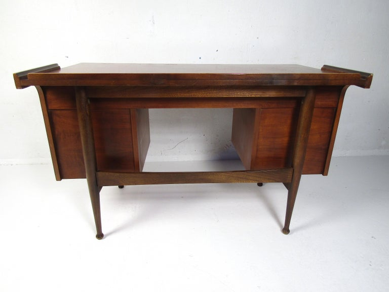 Walnut Midcentury Desk and Chair by Hooker Furniture For Sale