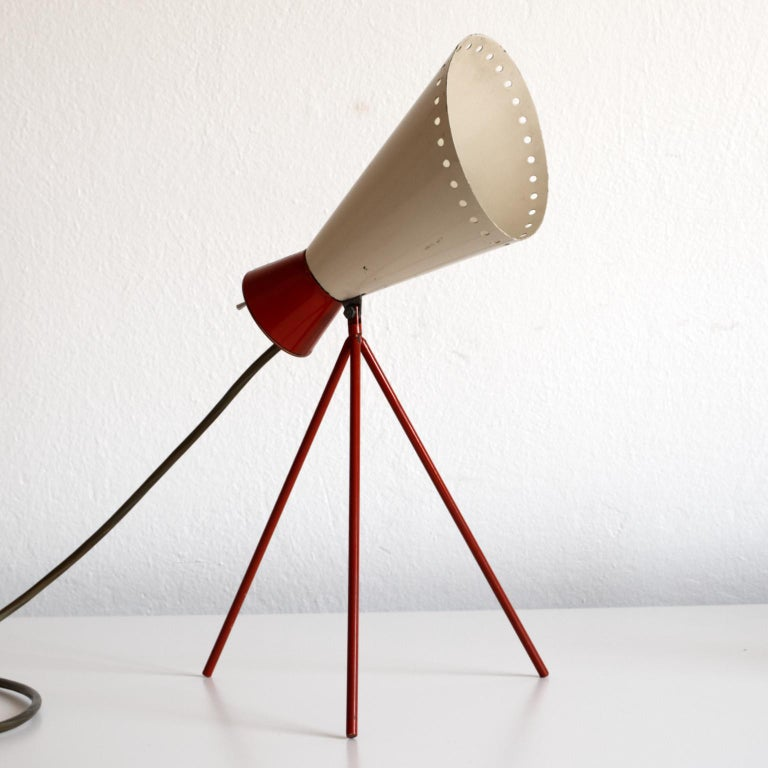 Vintage table lamp designed by Josef Hurka is in an original condition with only minor signs of use.  Work on E14 bulb. Adjustable lamp shade.
