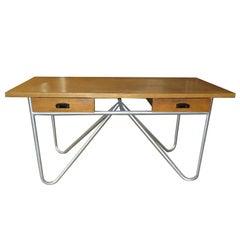 Midcentury Desk with Tubular Base Design
