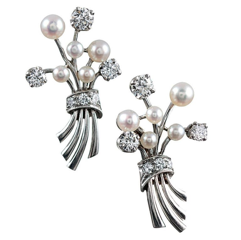 Midcentury Diamond and Pearl Bouquet Earrings, Signed Raymond Yard