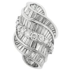 Mid-Century Diamond Cascade Platinum Cocktail Ring
