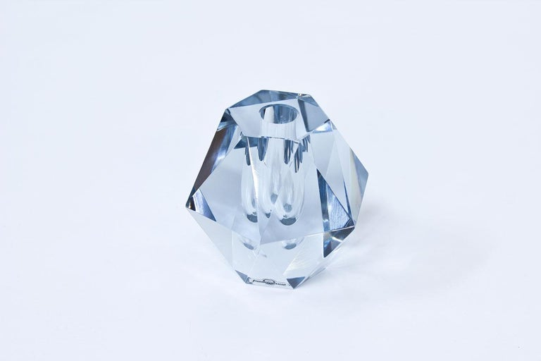 Diamond cut crystal glass vase. Designed by Asta Strömberg, manufactured by Strömbergshyttan in Sweden during the 1960s. Labeled and engraved on the bottom.