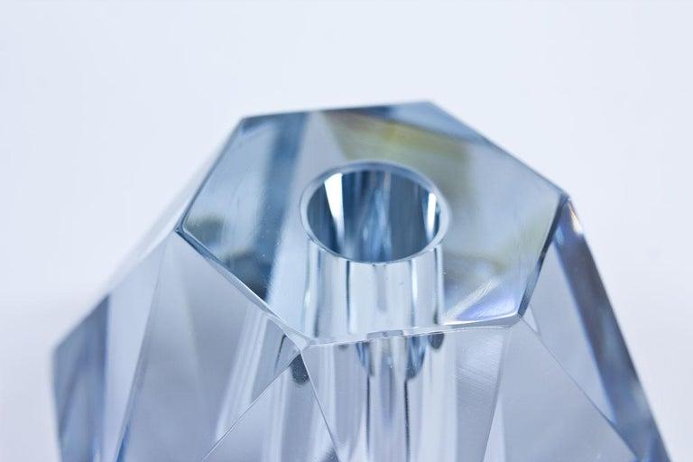 Scandinavian Modern Midcentury Diamond Crystal Glass Vase by Strömbergshyttan, Sweden For Sale
