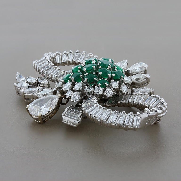 Mid-Century Emerald Diamond Platinum Bow Brooch In Excellent Condition For Sale In Beverly Hills, CA