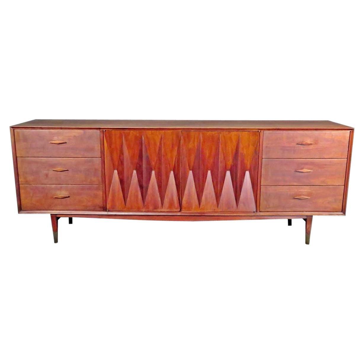 Mid-Century Diamond Front Long Dresser