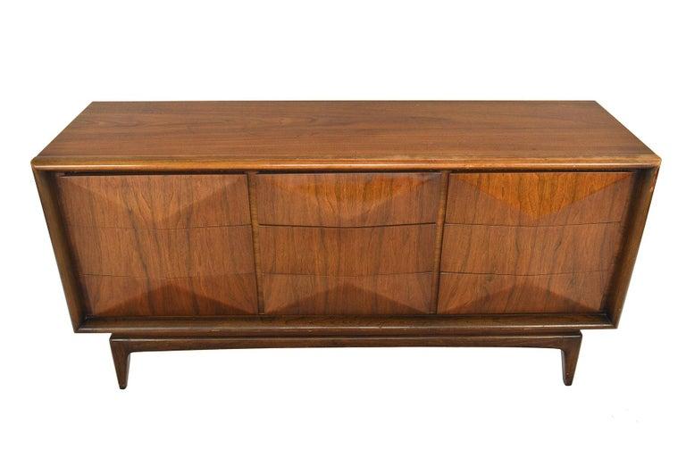Mid-Century Modern Midcentury Diamond Front Walnut Nine-Drawer Dresser