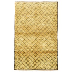 Midcentury Diamond Pattern Turkish Rug in Gold Mustard and Black