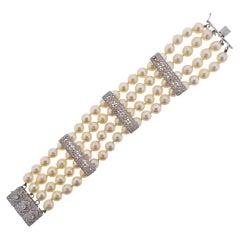 Mid Century Diamond Pearl Gold Multi Strand Bracelet