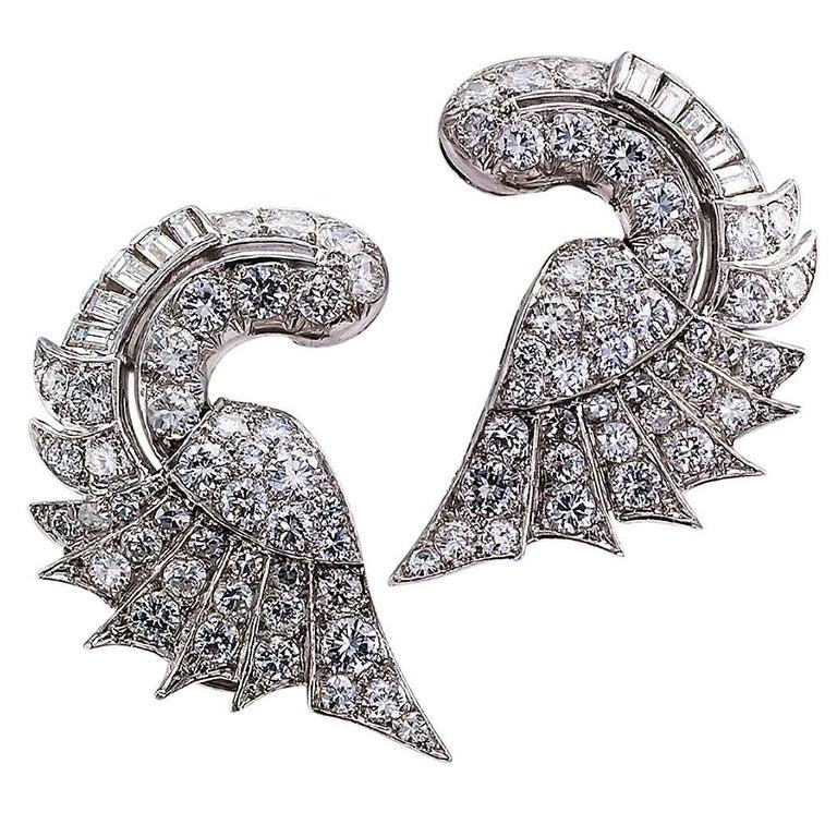 Midcentury Diamond Platinum Earrings