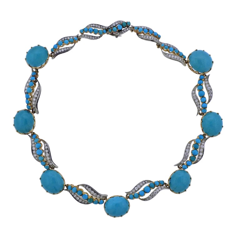 Midcentury Diamond Turquoise Gold Necklace