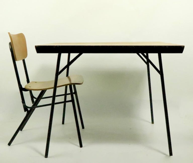 Metal Mid Century Dinette Card Table Set by Cavalier For Sale