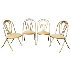 Mid Century Dining Chairs Gold Metal Striped Velvet Beige Italy 1970s Set of 4