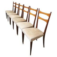 Midcentury Dining Chairs in the Style of Osvaldo Borsani in Wood and Cloth, 1950