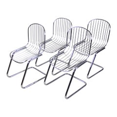 Midcentury Dining Chairs Set of Four by G. Rinaldi Chromed, Italy, circa 1970