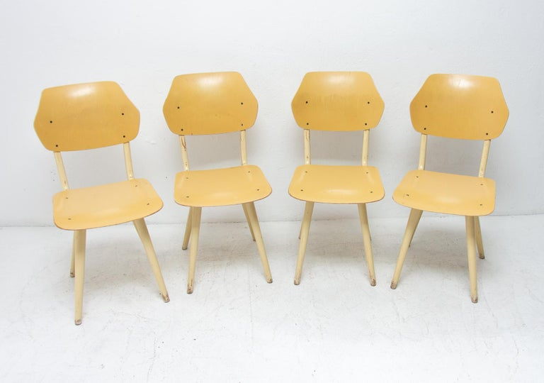Scandinavian Modern Midcentury Dining Chairs TON, Set of Four, 1960s For Sale