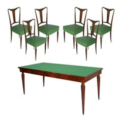 Midcentury Dining Room Table and Chairs, Mahogany, by Palazzi Dell'arte Cantù