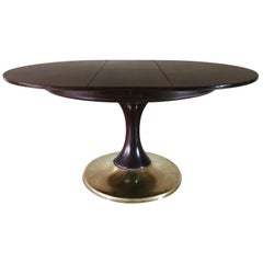 Midcentury Dining Table in Oakwood and Brass, Italian Design, 1950s