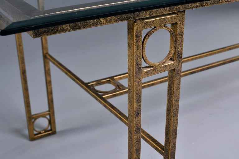 Midcentury Dining Table with Iron Base and Glass Top For Sale 4