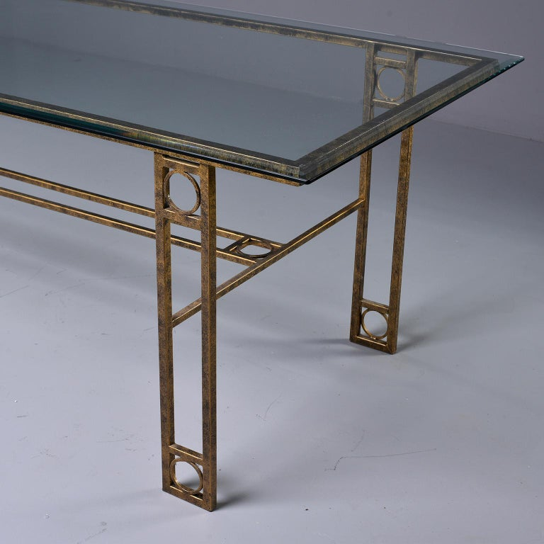 European Midcentury Dining Table with Iron Base and Glass Top For Sale