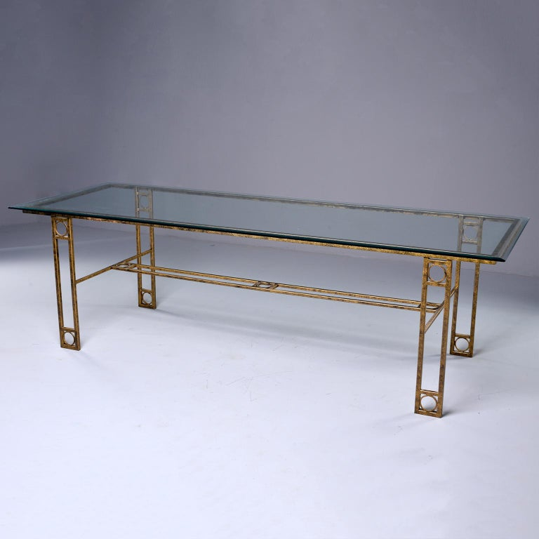 Midcentury Dining Table with Iron Base and Glass Top In Good Condition For Sale In Troy, MI