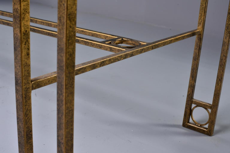 20th Century Midcentury Dining Table with Iron Base and Glass Top For Sale