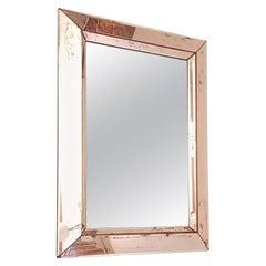 Midcentury Pink Distressed Mirror, Italy