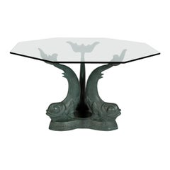 Midcentury Dolphin Base Table With Hexagonal Gl Top