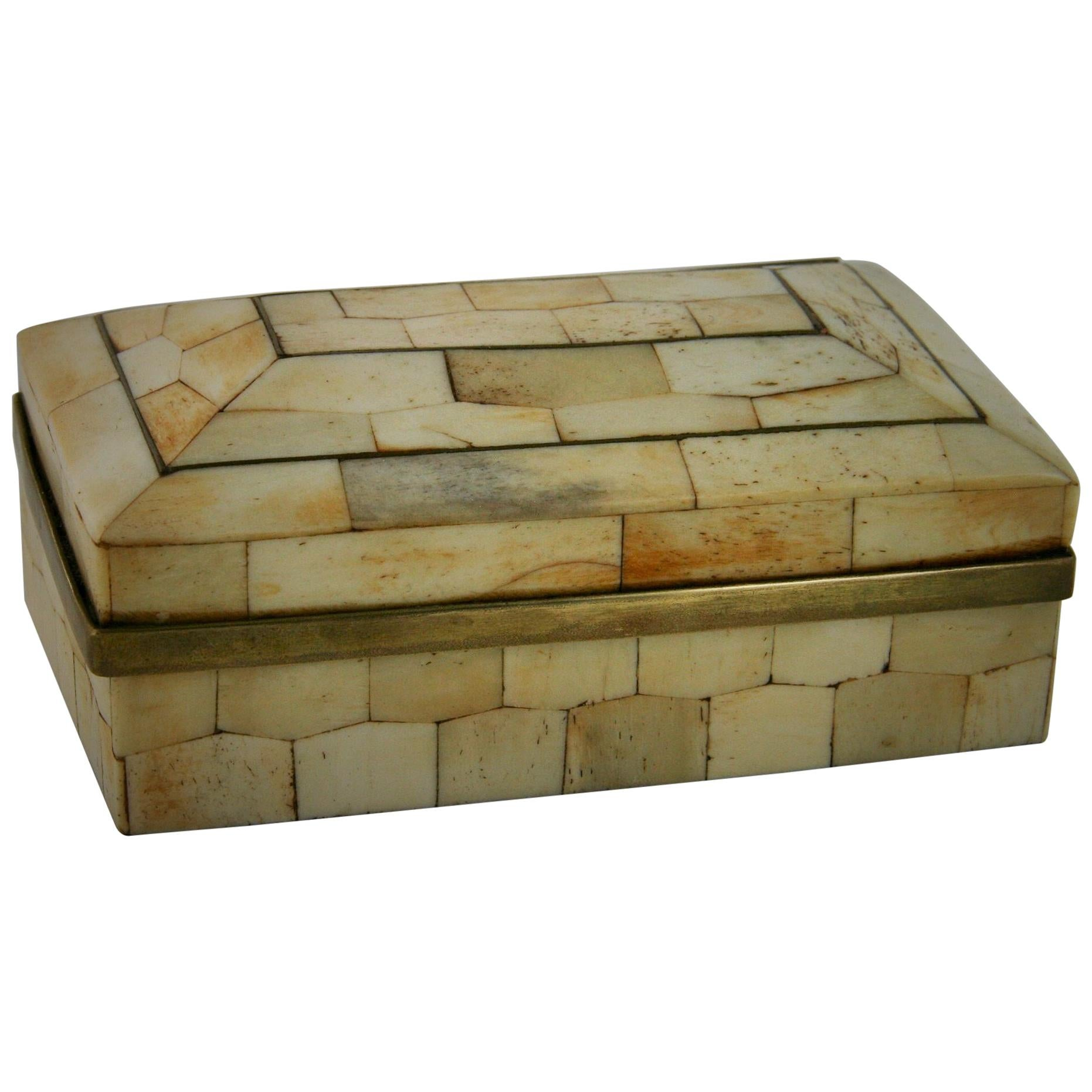 Midcentury Domed Top Stone and Brass Tessellated Decorative Box