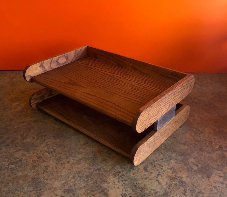 Mid-Century Modern Midcentury Double Letter Tray by Peter Pepper Products For Sale