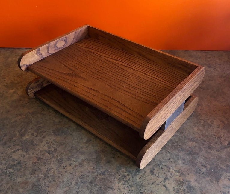American Midcentury Double Letter Tray by Peter Pepper Products For Sale