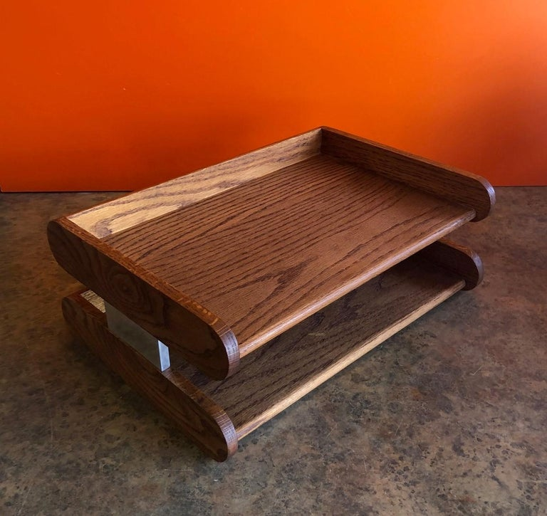 Midcentury Double Letter Tray by Peter Pepper Products In Good Condition For Sale In San Diego, CA