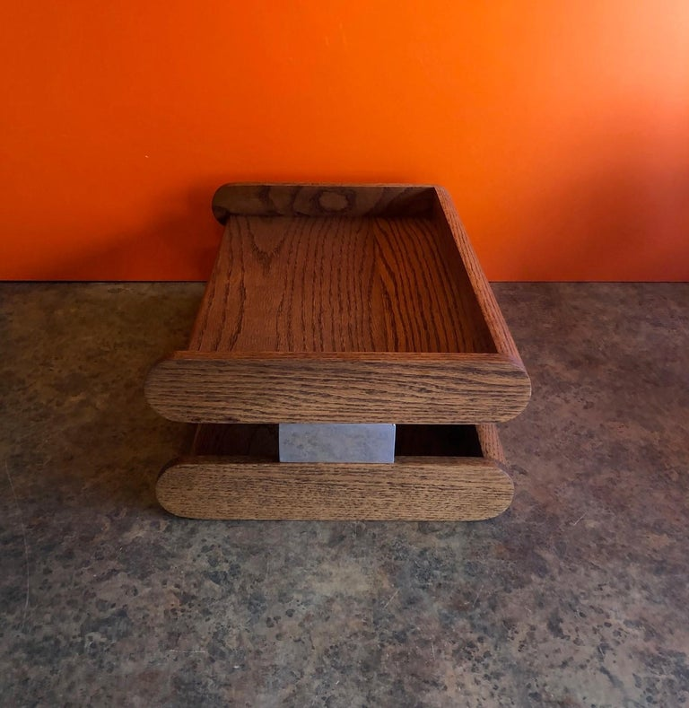 20th Century Midcentury Double Letter Tray by Peter Pepper Products For Sale