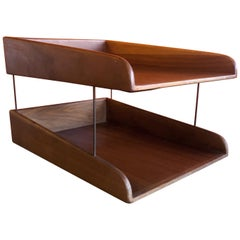 Midcentury Double Letter Tray in Walnut by Unicor