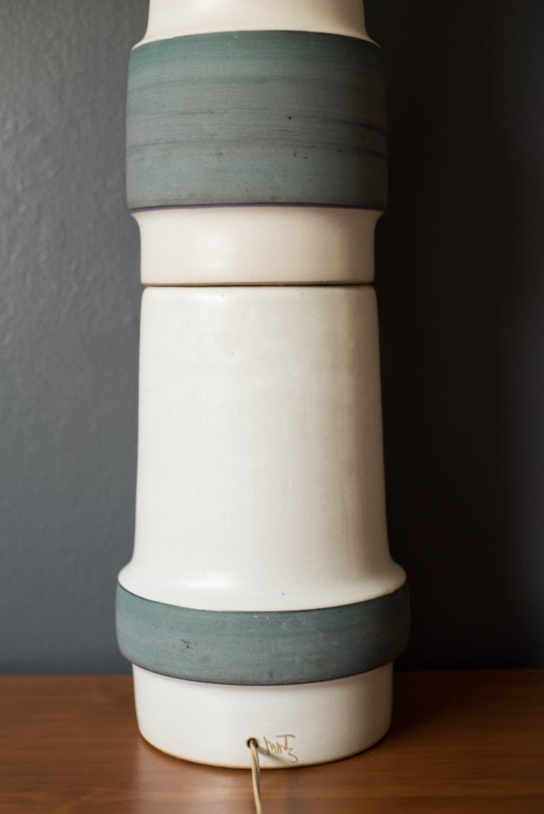 Mid Century Double Stacked Stoneware Pottery Lamp by Martz For Sale 4