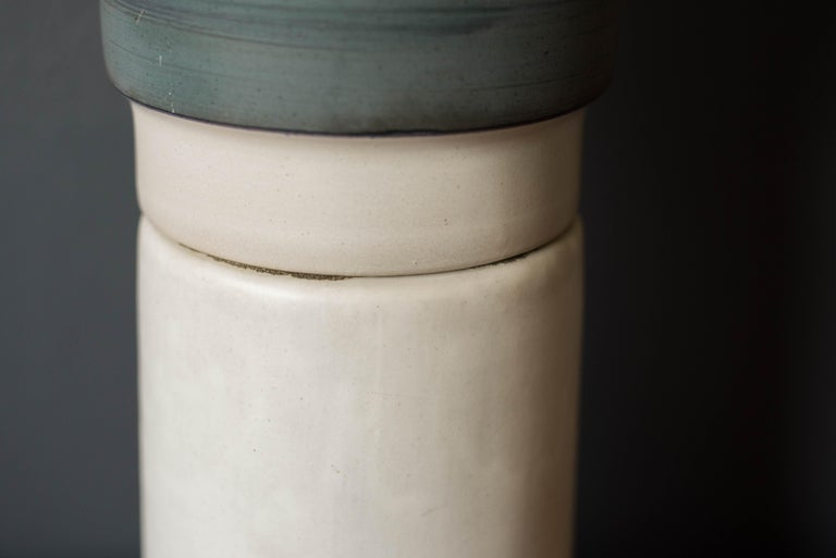 Mid Century Double Stacked Stoneware Pottery Lamp by Martz For Sale 6