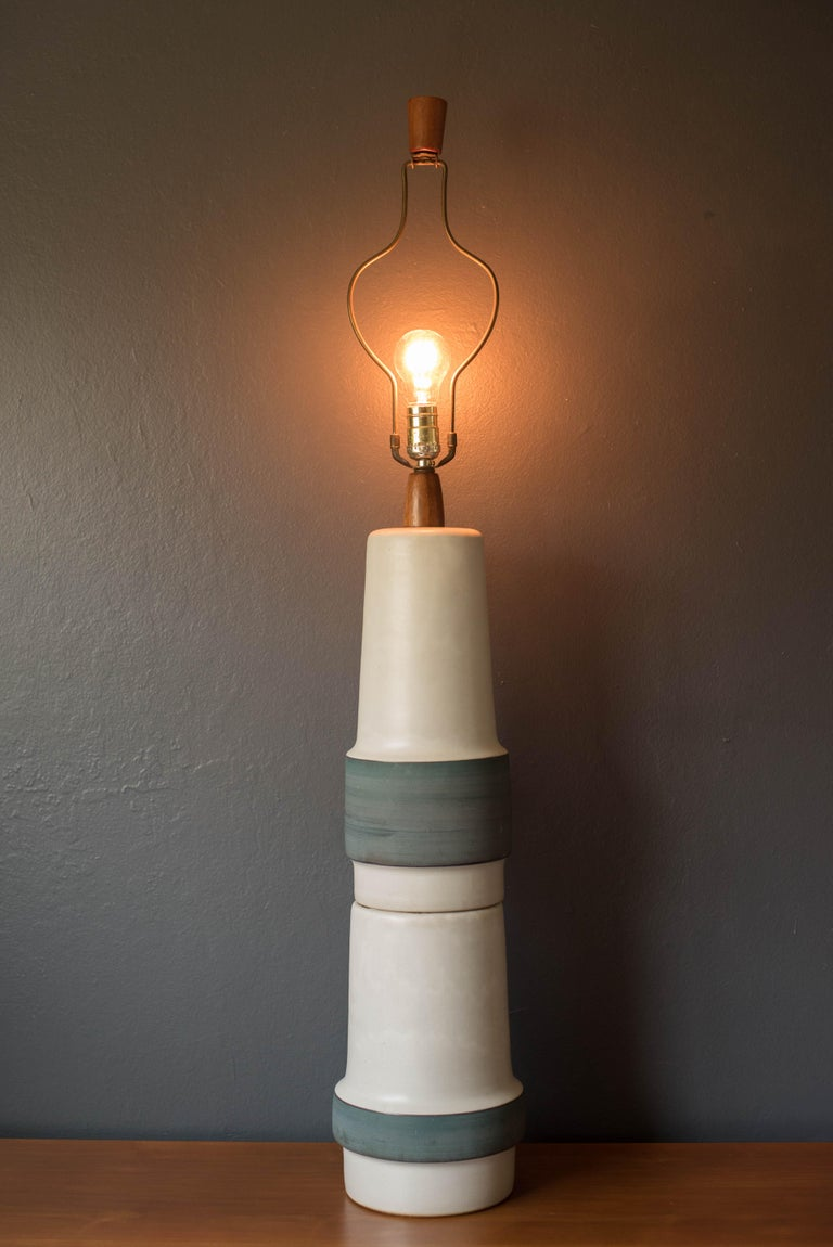 Mid-Century Modern Mid Century Double Stacked Stoneware Pottery Lamp by Martz For Sale