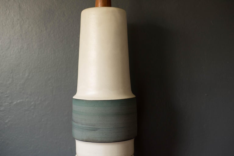 American Mid Century Double Stacked Stoneware Pottery Lamp by Martz For Sale