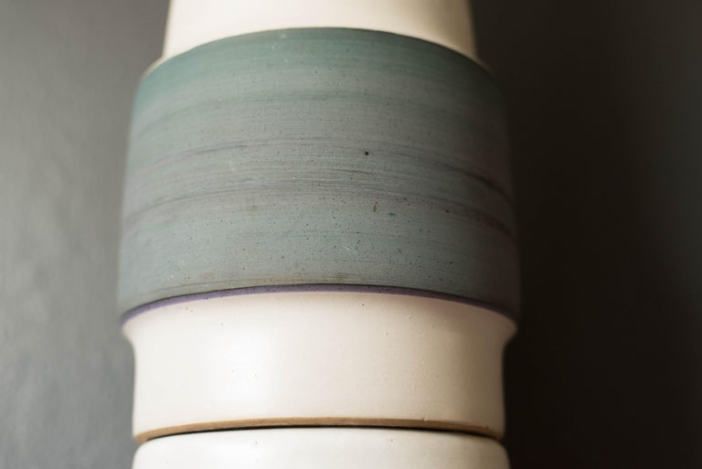 Ceramic Mid Century Double Stacked Stoneware Pottery Lamp by Martz For Sale