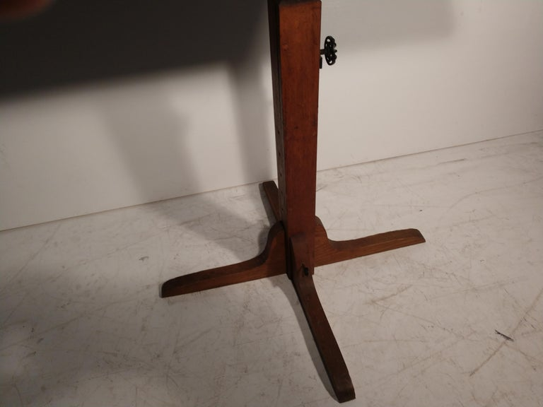 Oak Mid Century Drafting Table with Inlay Top For Sale