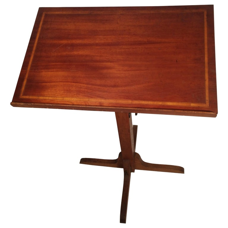 Mid Century Drafting Table with Inlay Top For Sale