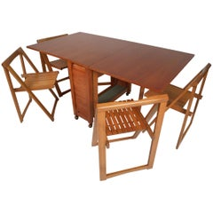 Midcentury Drop-Leaf Apartment Table on Casters with Hideaway Slat-Wood Chairs