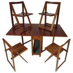 Midcentury Drop-Leaf Table with Storable Matching Chairs