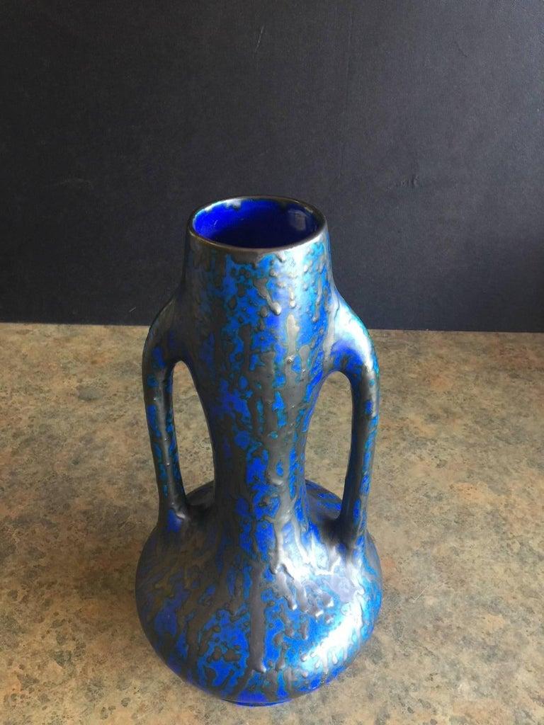 Belgian Midcentury Dual Handled Lava Glazed Vase by Ceramique De Bruxelles of Belgium For Sale
