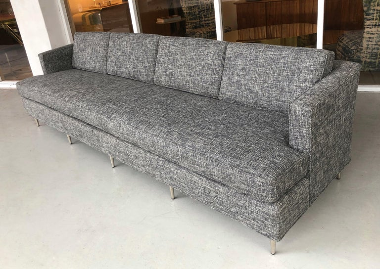 Mid-20th Century Midcentury Dunbar Style Sofa with 10 Legs For Sale
