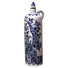 Mid-Century Dutch Blue and White Painted Faience Delft Olive Oil Bottle
