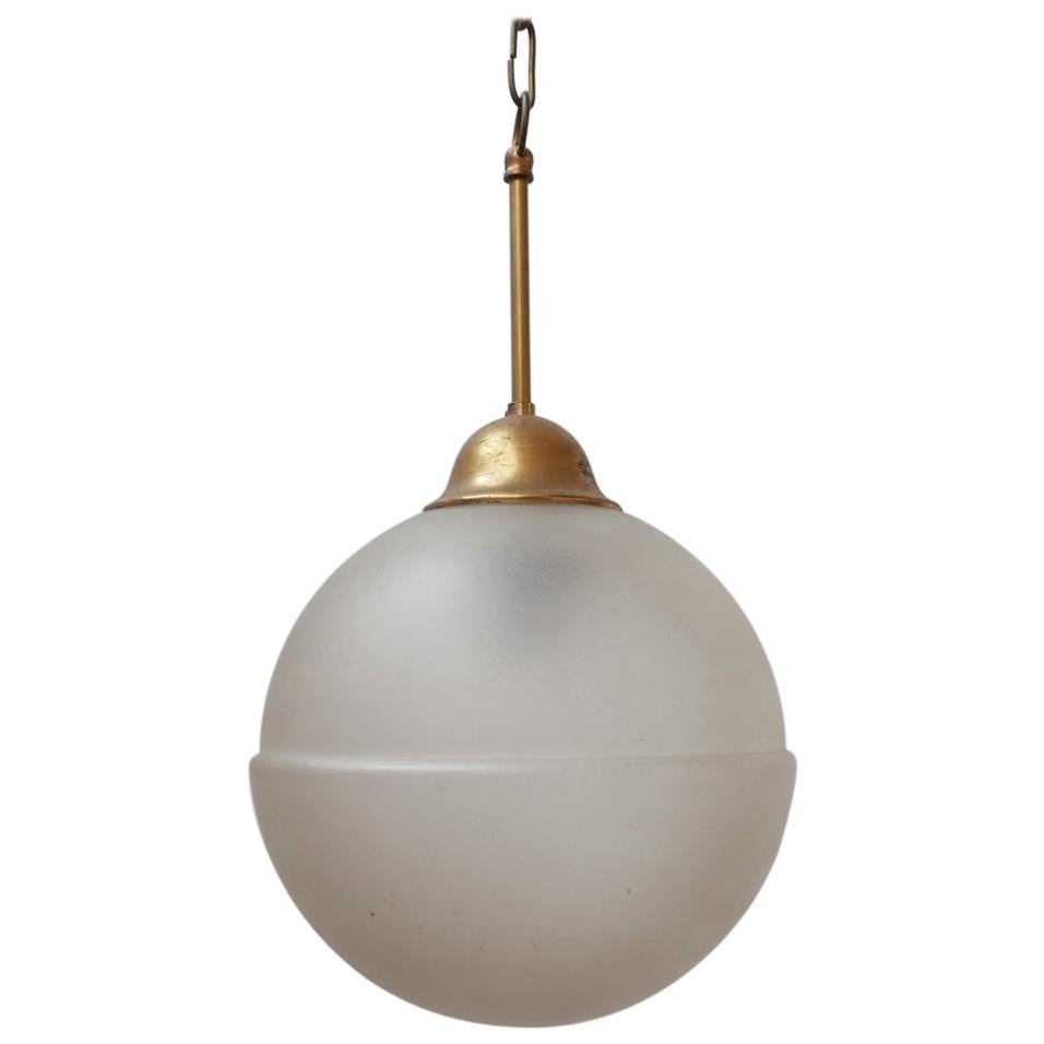 Mid-Century Dutch Etched Glass and Brass Pendant Light