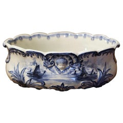Mid-Century Dutch Hand-Painted Blue and White Ceramic Delft Jardiniere