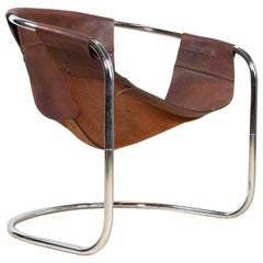 Midcentury Dutch Leather and Tubular Chair by Clemens Claessen, 1965 Ba-As