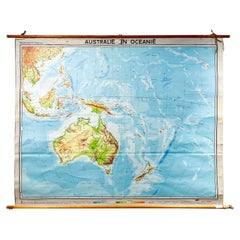 Mid-Century Dutch Topographical Wall Map of Australia and Oceania on Linen