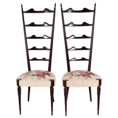 Mid-Century E. Minotti, Ponti High Espalier Dining Chairs Set of 2, 50s Italy